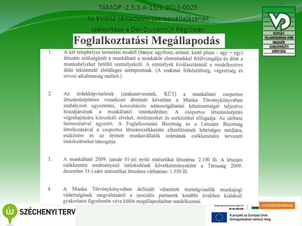 TÁMOP -2.5.3.A-13/1-2013-0025 Az EVDSZ társadalmi szerepvállalásának szélesítése a Dél-Dunántúli Régióban 15