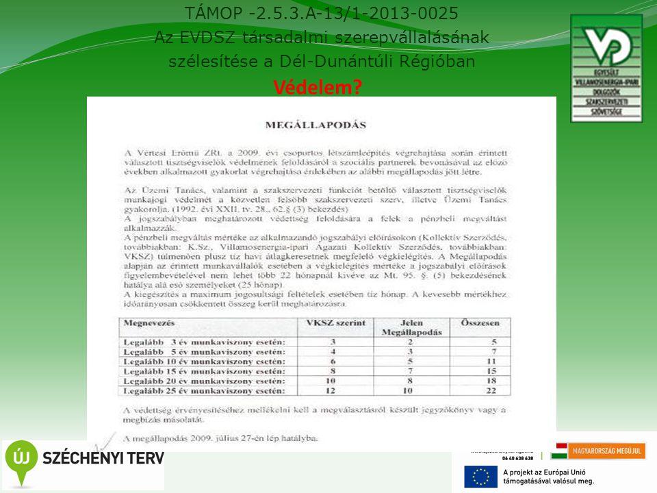 TÁMOP -2.5.3.A-13/1-2013-0025 Az EVDSZ társadalmi szerepvállalásának szélesítése a Dél-Dunántúli Régióban 16 Védelem?