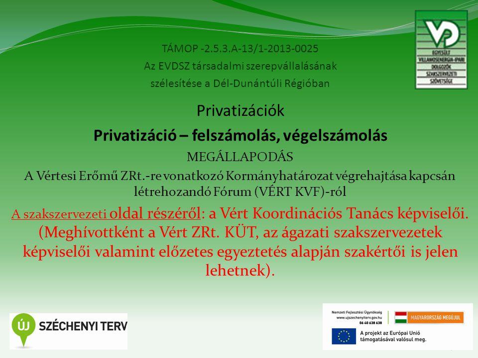 TÁMOP -2.5.3.A-13/1-2013-0025 Az EVDSZ társadalmi szerepvállalásának szélesítése a Dél-Dunántúli Régióban 7 Privatizációk Privatizáció – felszámolás, végelszámolás MEGÁLLAPODÁS A Vértesi Erőmű ZRt.-re vonatkozó Kormányhatározat végrehajtása kapcsán létrehozandó Fórum (VÉRT KVF)-ról A szakszervezeti oldal részéről: a Vért Koordinációs Tanács képviselői.