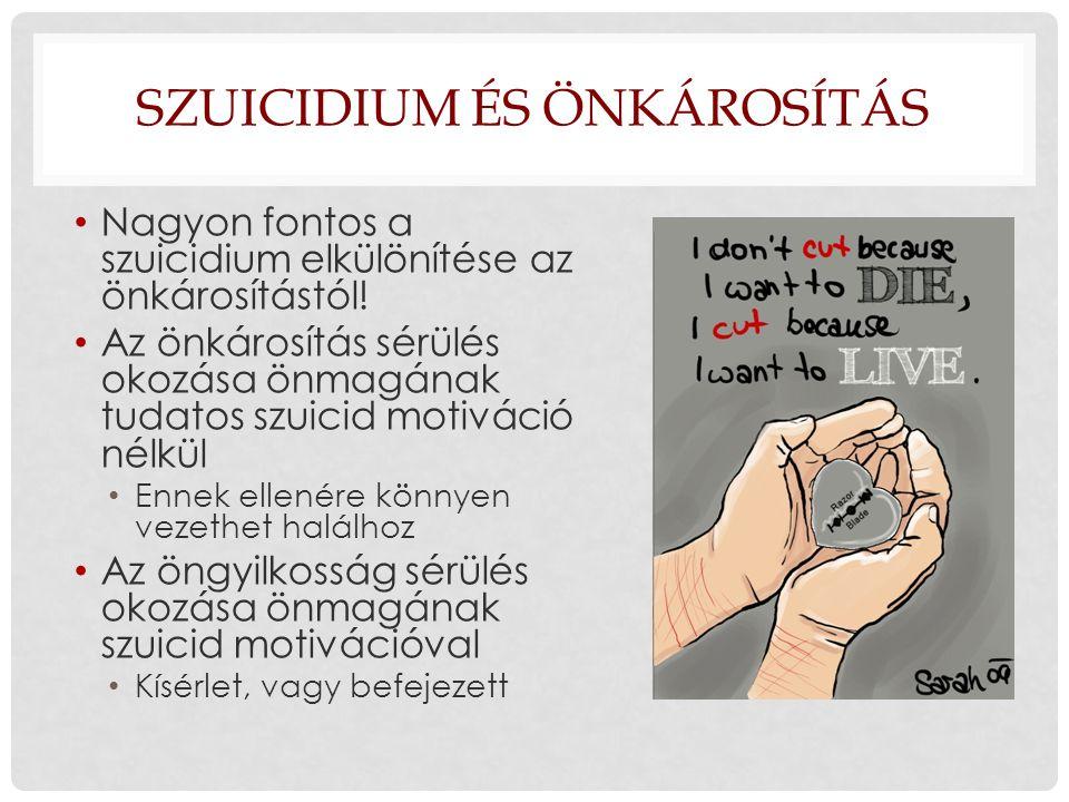 SZUICIDIUM ÉS ÖNKÁROSÍTÁS Nagyon fontos a szuicidium elkülönítése az önkárosítástól! Az önkárosítás sérülés okozása önmagának tudatos szuicid motiváci