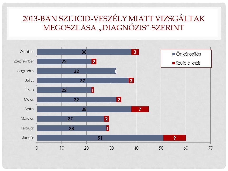 """2013-BAN SZUICID-VESZÉLY MIATT VIZSGÁLTAK MEGOSZLÁSA """"DIAGNÓZIS"""" SZERINT"""