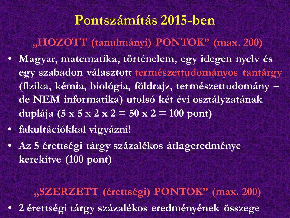 """Pontszámítás 2015-ben """"HOZOTT (tanulmányi) PONTOK"""" (max. 200) Magyar, matematika, történelem, egy idegen nyelv és egy szabadon választott természettud"""