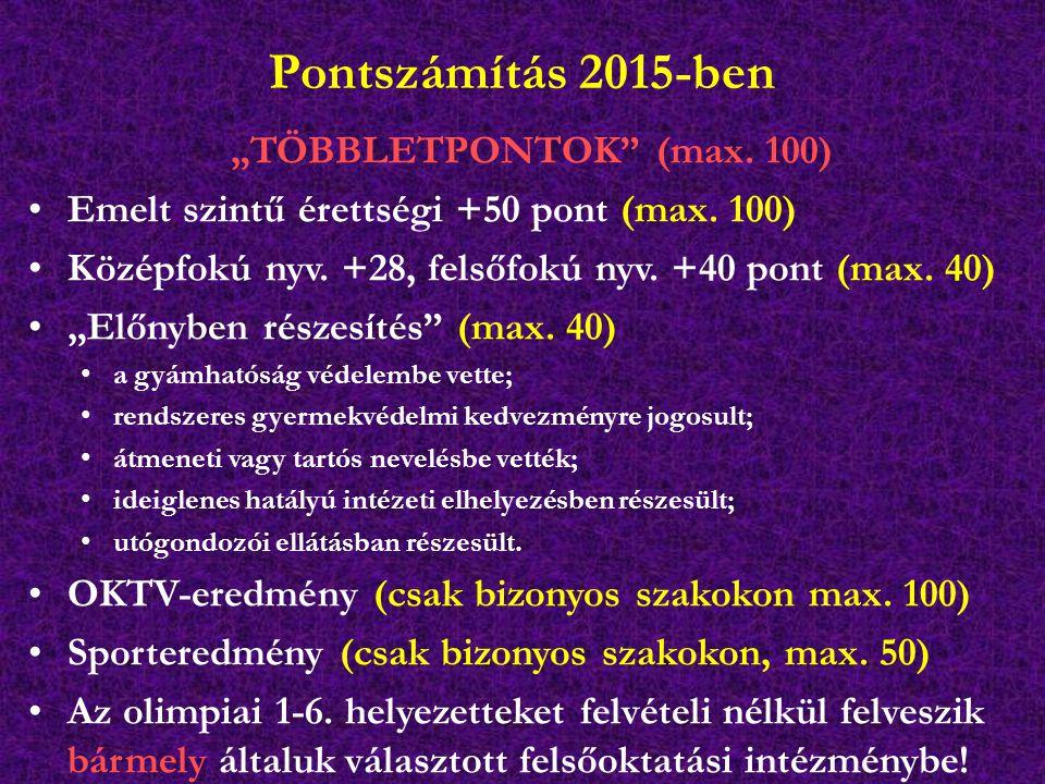 """Pontszámítás 2015-ben """"TÖBBLETPONTOK"""" (max. 100) Emelt szintű érettségi +50 pont (max. 100) Középfokú nyv. +28, felsőfokú nyv. +40 pont (max. 40) """"Elő"""