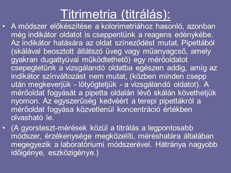 Titrimetria (titrálás): A módszer előkészítése a kolorimetriához hasonló, azonban még indikátor oldatot is cseppentünk a reagens edénykébe.
