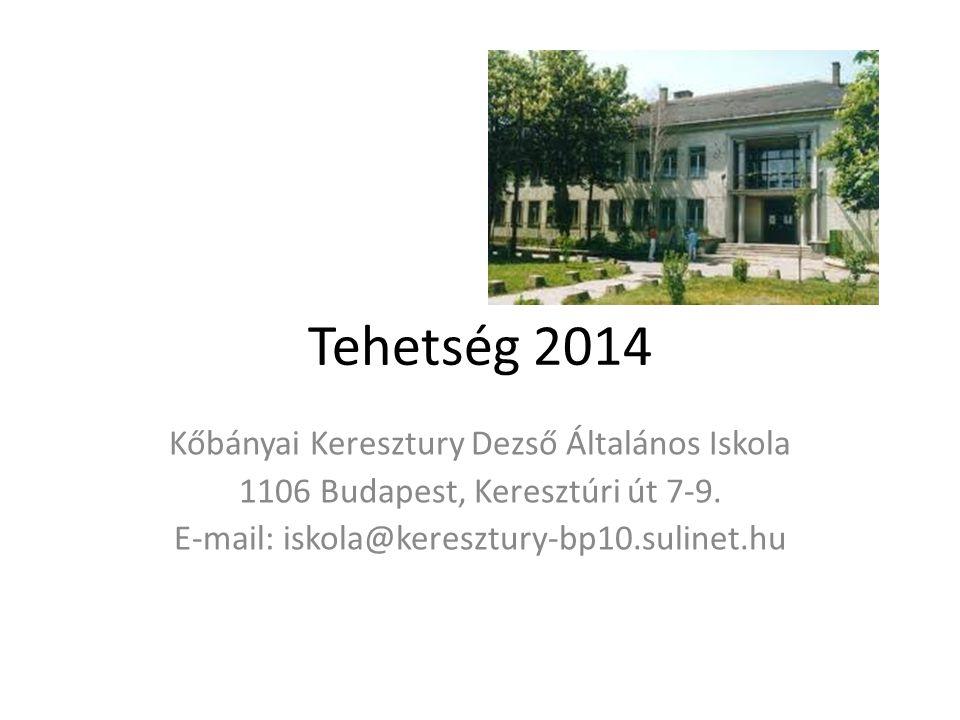 Tehetség 2014 Kőbányai Keresztury Dezső Általános Iskola 1106 Budapest, Keresztúri út 7-9.
