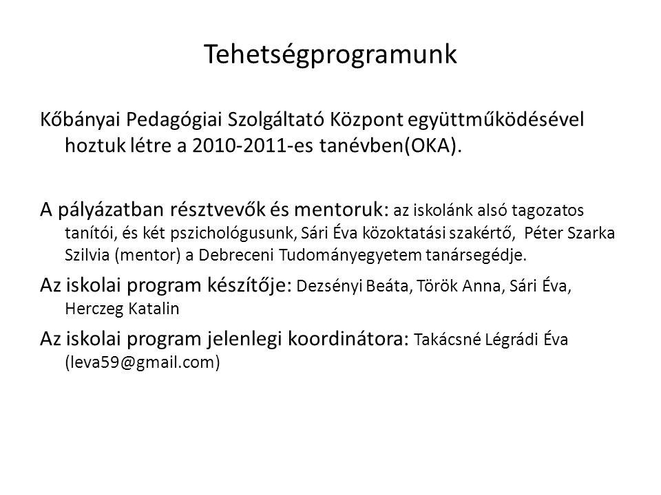Tehetségprogramunk Kőbányai Pedagógiai Szolgáltató Központ együttműködésével hoztuk létre a 2010-2011-es tanévben(OKA). A pályázatban résztvevők és me