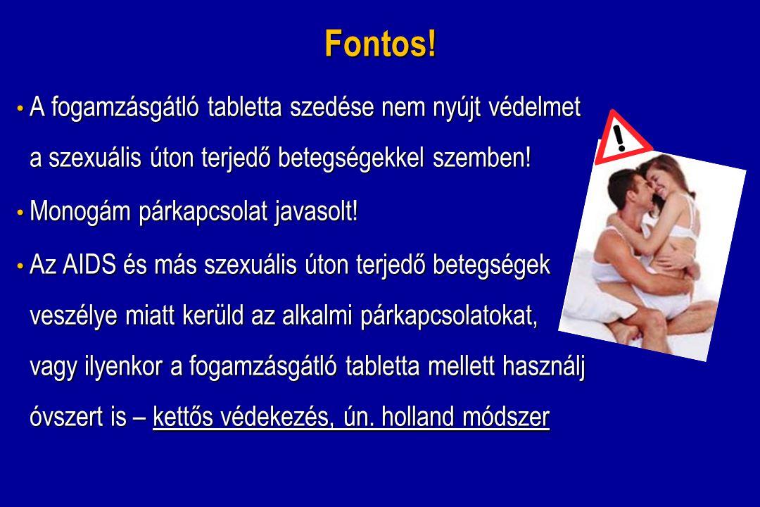 Fontos! A fogamzásgátló tabletta szedése nem nyújt védelmet a szexuális úton terjedő betegségekkel szemben! A fogamzásgátló tabletta szedése nem nyújt