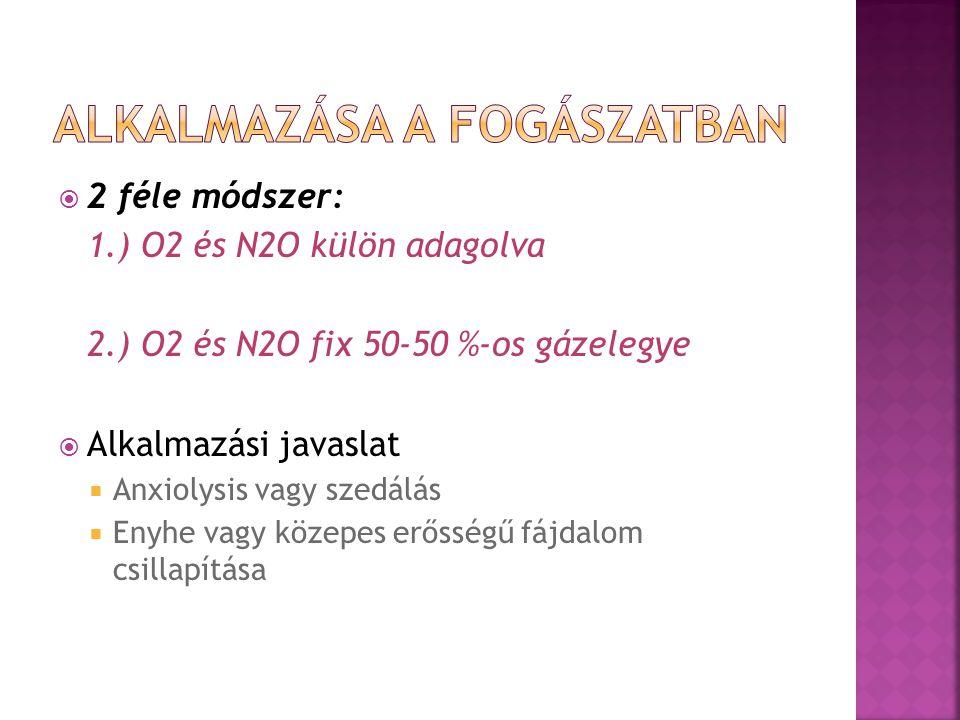  2 féle módszer: 1.) O2 és N2O külön adagolva 2.) O2 és N2O fix 50-50 %-os gázelegye  Alkalmazási javaslat  Anxiolysis vagy szedálás  Enyhe vagy k