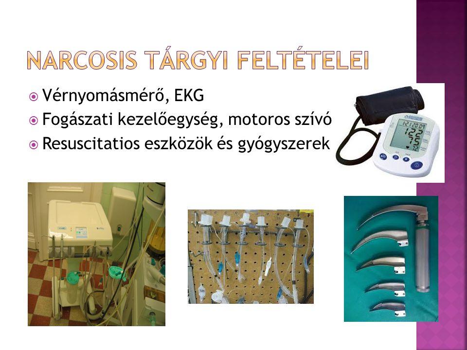  Vérnyomásmérő, EKG  Fogászati kezelőegység, motoros szívó  Resuscitatios eszközök és gyógyszerek