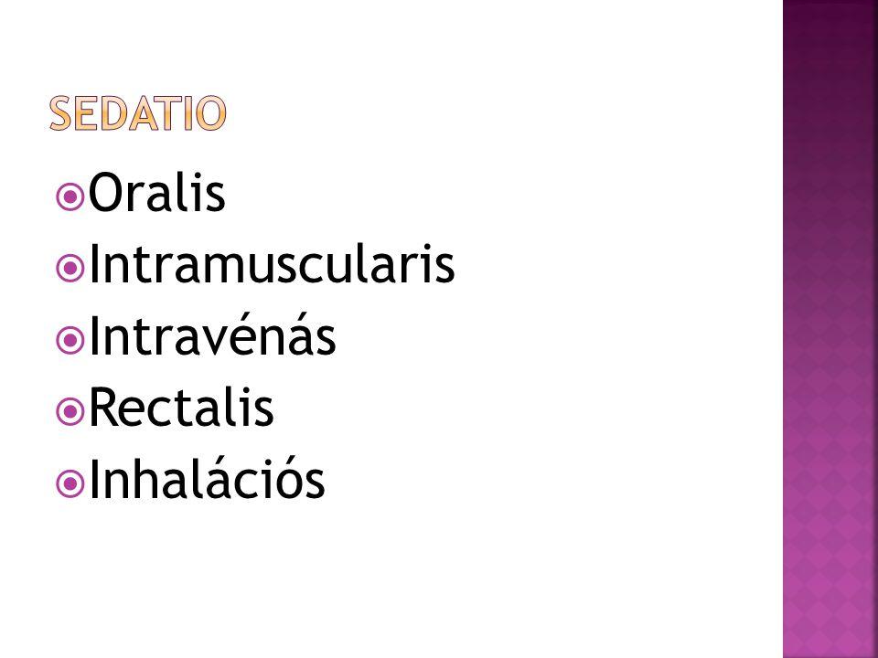  Benzodiazepin származékok:  Diazepam, midazolam Előny: otthon is alkalmazható (megbízható szülő) olcsó Hátrány: Felszívódás GI traktusból bizonytalan Paradox reakció Megfelelő időben megfelelő dózis: Diazepam (Seduxen): 0,2-0,5 mg/ttkg  Elhúzódó hatás, helyette: Midazolam (Dormicum): 0,3-0,5 mg/ttkg  7,5/15 mg-os tabl.vagy vénás inj.