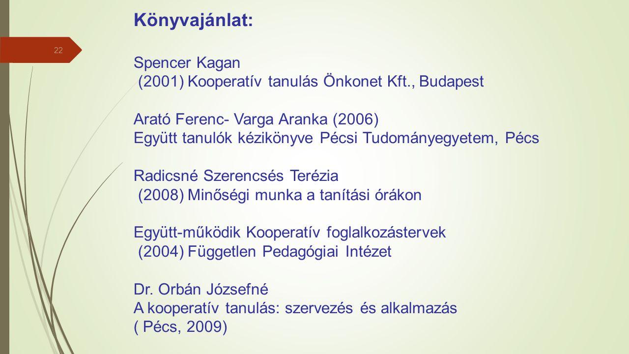 22 Könyvajánlat: Spencer Kagan (2001) Kooperatív tanulás Önkonet Kft., Budapest Arató Ferenc- Varga Aranka (2006) Együtt tanulók kézikönyve Pécsi Tudo