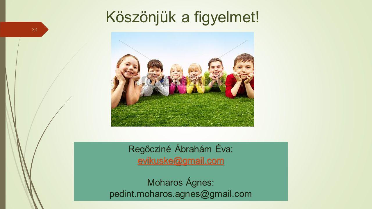 33 Regőcziné Ábrahám Éva: evikuske@gmail.com Moharos Ágnes: pedint.moharos.agnes@gmail.com Köszönjük a figyelmet!