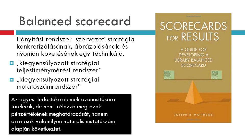 """Balanced scorecard Irányítási rendszer szervezeti stratégia konkretizálásának, ábrázolásának és nyomon követésének egy technikája.  """"kiegyensúlyozott"""