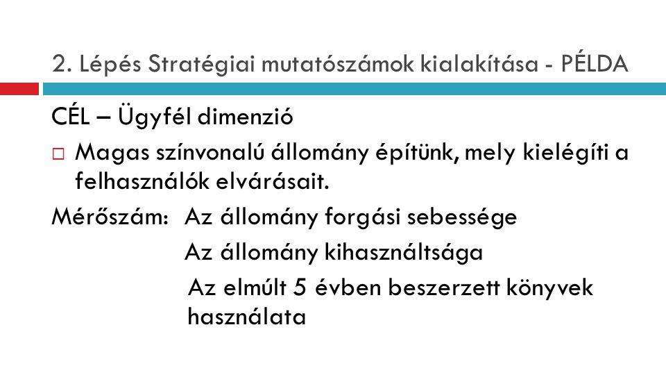 2. Lépés Stratégiai mutatószámok kialakítása - PÉLDA CÉL – Ügyfél dimenzió  Magas színvonalú állomány építünk, mely kielégíti a felhasználók elvárása