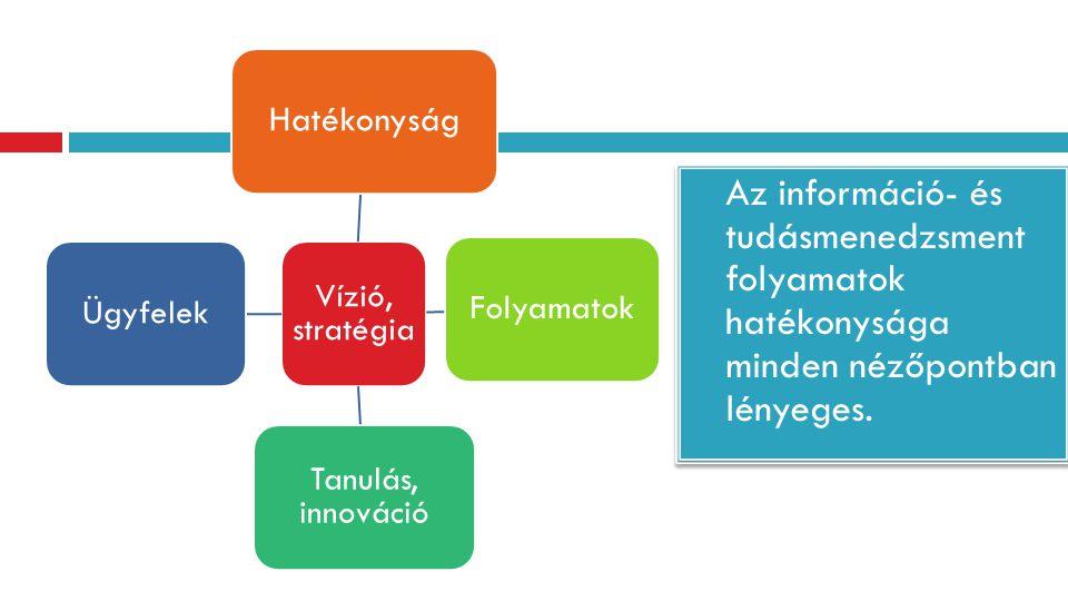 Az információ- és tudásmenedzsment folyamatok hatékonysága minden nézőpontban lényeges. Vízió, stratégia Hatékonyság Folyamatok Tanulás, innováció Ügy
