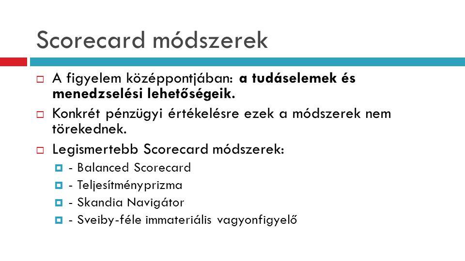 Scorecard módszerek  A figyelem középpontjában: a tudáselemek és menedzselési lehetőségeik.  Konkrét pénzügyi értékelésre ezek a módszerek nem törek