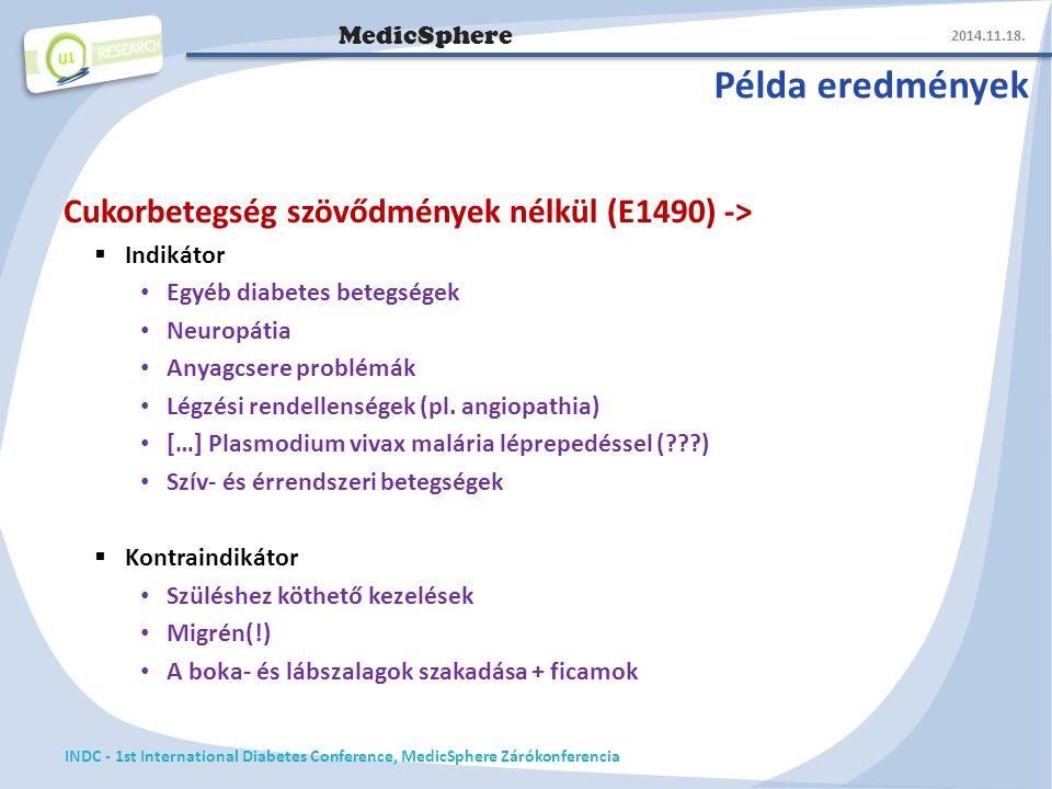 MedicSphere Példa eredmények Cukorbetegség szövődmények nélkül (E1490) ->  Indikátor Egyéb diabetes betegségek Neuropátia Anyagcsere problémák Légzési rendellenségek (pl.