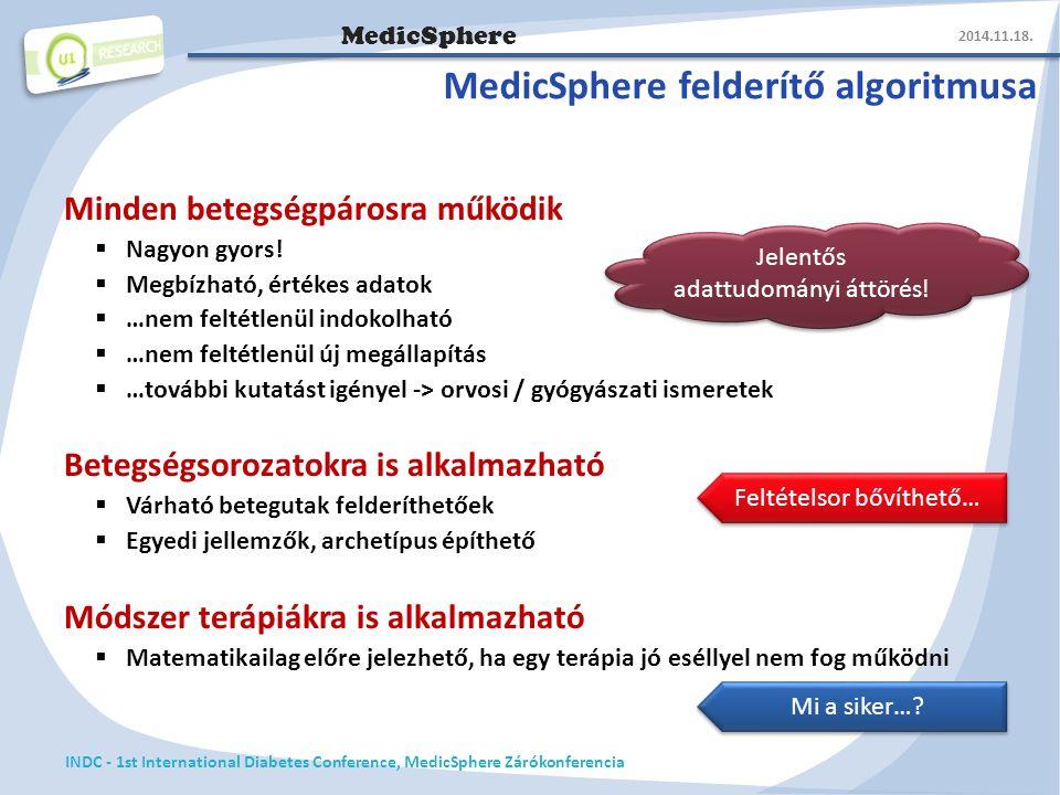 MedicSphere MedicSphere felderítő algoritmusa Minden betegségpárosra működik  Nagyon gyors.