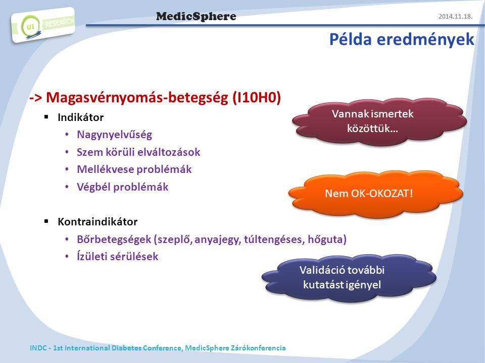 MedicSphere Példa eredmények -> Magasvérnyomás-betegség (I10H0)  Indikátor Nagynyelvűség Szem körüli elváltozások Mellékvese problémák Végbél problémák  Kontraindikátor Bőrbetegségek (szeplő, anyajegy, túltengéses, hőguta) Ízületi sérülések 2014.11.18.