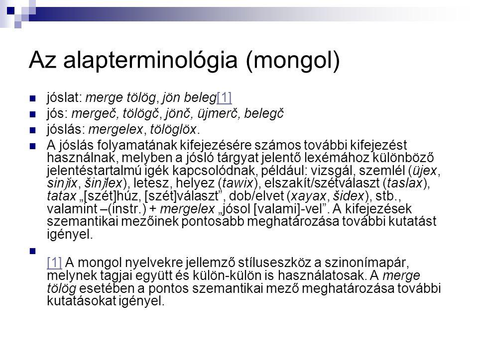 Az alapterminológia (mongol) jóslat: merge tölög, jön beleg[1][1] jós: mergeč, tölögč, jönč, üjmerč, belegč jóslás: mergelex, tölöglöx. A jóslás folya
