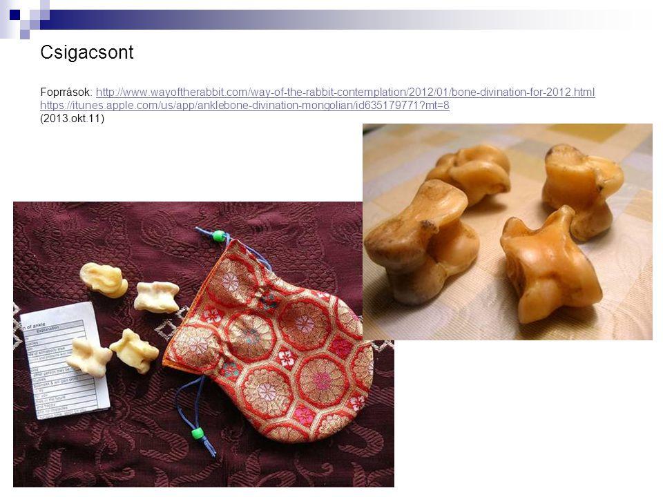 Csigacsont Foprrások: http://www.wayoftherabbit.com/way-of-the-rabbit-contemplation/2012/01/bone-divination-for-2012.html https://itunes.apple.com/us/