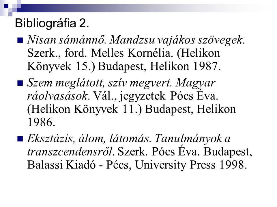 Bibliográfia 2. Nisan sámánnő. Mandzsu vajákos szövegek. Szerk., ford. Melles Kornélia. (Helikon Könyvek 15.) Budapest, Helikon 1987. Szem meglátott,