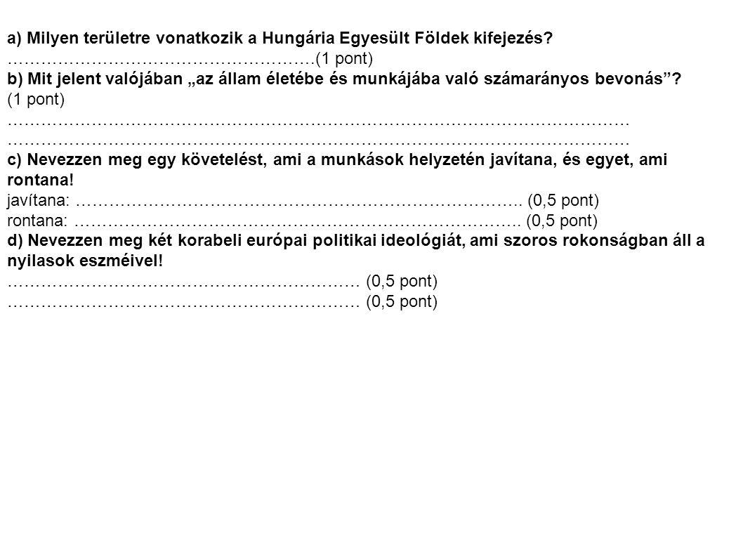 a) Milyen területre vonatkozik a Hungária Egyesült Földek kifejezés.
