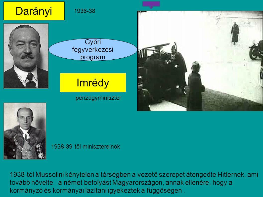 Darányi Imrédy Győri fegyverkezési program 1936-38 pénzügyminiszter 1938-39 től miniszterelnök 1938-tól Mussolini kénytelen a térségben a vezető szerepet átengedte Hitlernek, ami tovább növelte a német befolyást Magyarországon, annak ellenére, hogy a kormányzó és kormányai lazítani igyekeztek a függőségen.