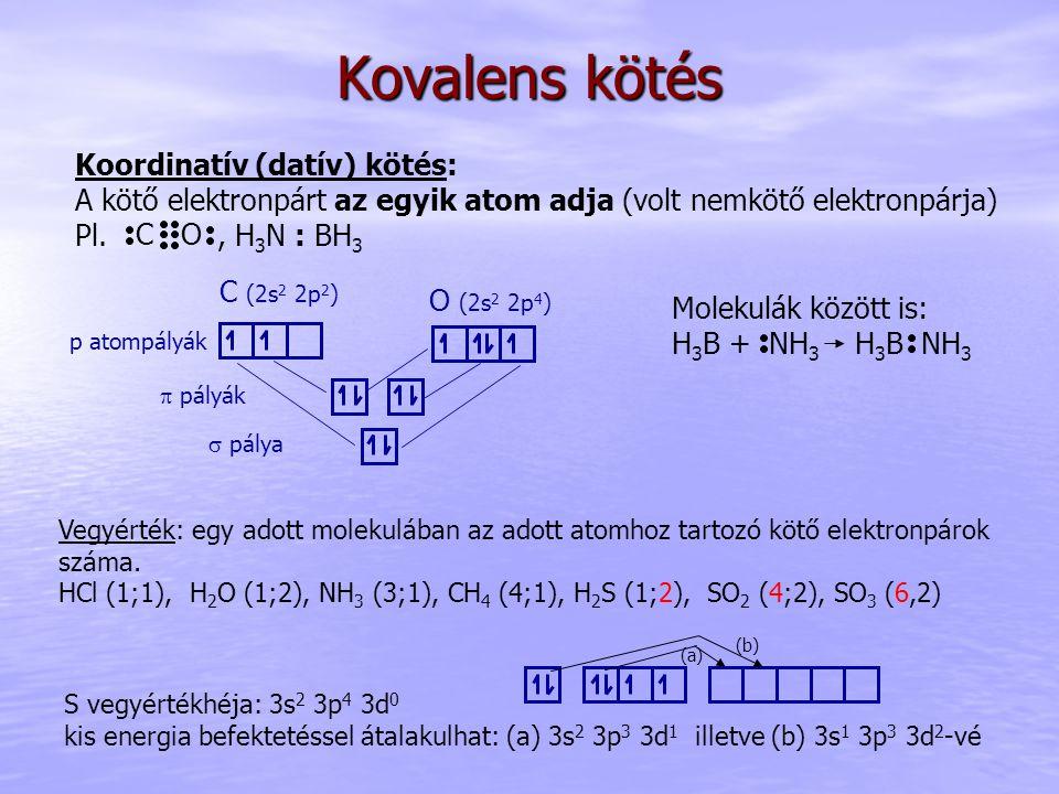 Kovalens kötés Koordinatív (datív) kötés: A kötő elektronpárt az egyik atom adja (volt nemkötő elektronpárja) Pl., H 3 N : BH 3 p atompályák  pálya 