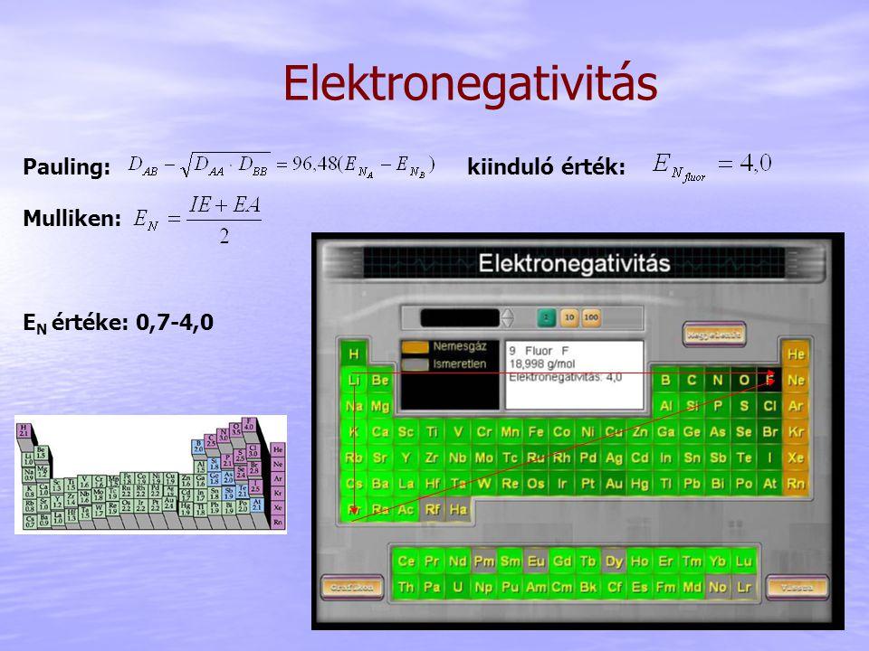 Elektronegativitás Pauling: kiinduló érték: Mulliken: E N értéke: 0,7-4,0