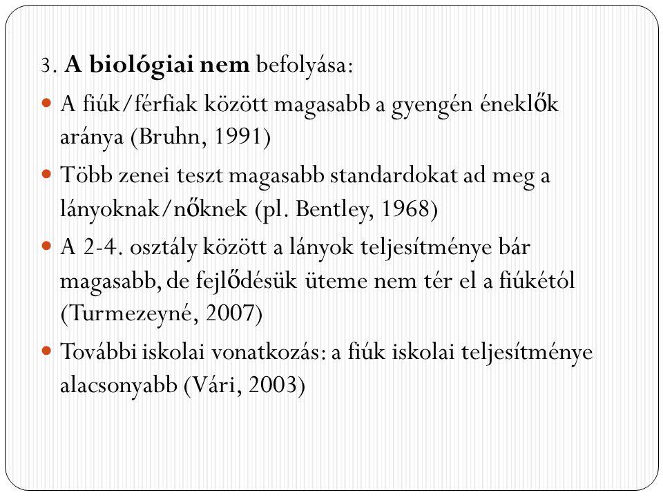 3. A biológiai nem befolyása: A fiúk/férfiak között magasabb a gyengén énekl ő k aránya (Bruhn, 1991) Több zenei teszt magasabb standardokat ad meg a
