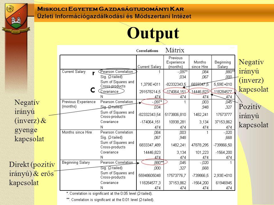 Miskolci Egyetem Gazdaságtudományi Kar Üzleti Információgazdálkodási és Módszertani Intézet Output Mátrix r C Negatív irányú (inverz) kapcsolat Pozití
