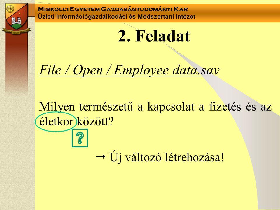 Miskolci Egyetem Gazdaságtudományi Kar Üzleti Információgazdálkodási és Módszertani Intézet 2. Feladat File / Open / Employee data.sav Milyen természe
