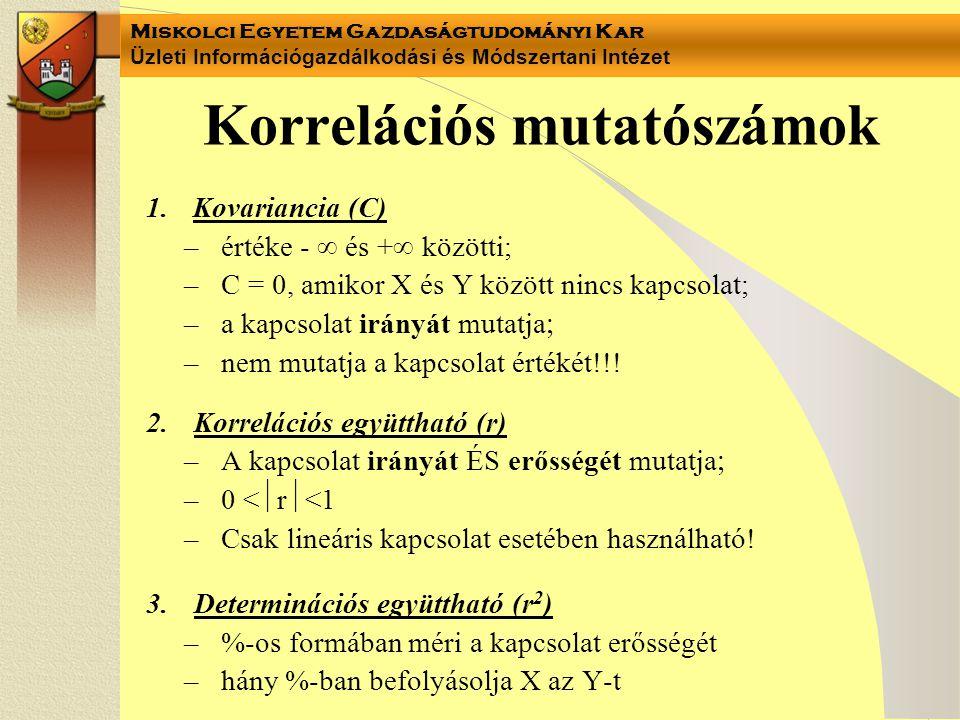 Miskolci Egyetem Gazdaságtudományi Kar Üzleti Információgazdálkodási és Módszertani Intézet Korrelációs mutatószámok 1.Kovariancia (C) –értéke -  és