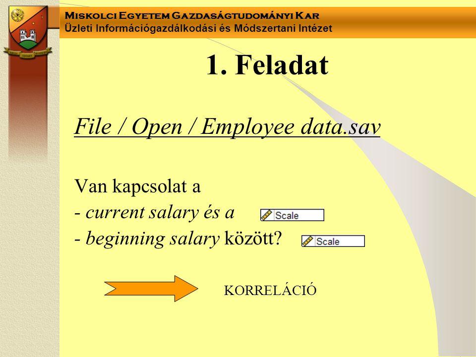 Miskolci Egyetem Gazdaságtudományi Kar Üzleti Információgazdálkodási és Módszertani Intézet 1. Feladat File / Open / Employee data.sav Van kapcsolat a