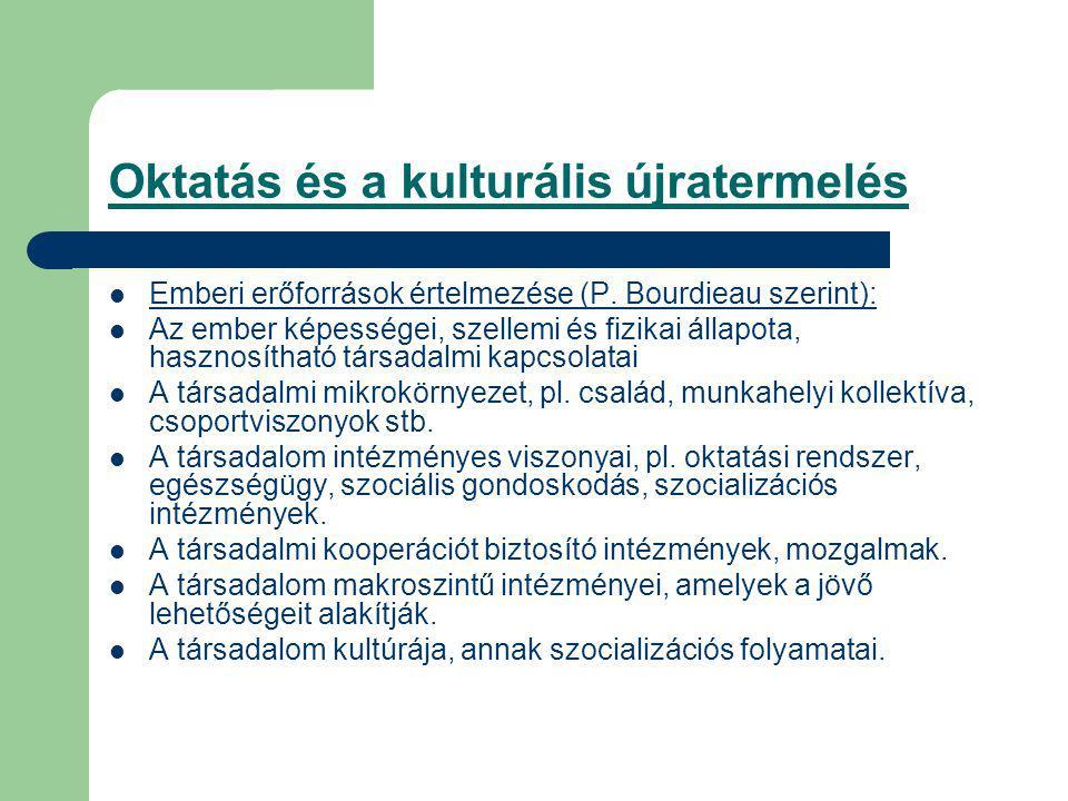 Oktatás és a kulturális újratermelés Emberi erőforrások értelmezése (P.
