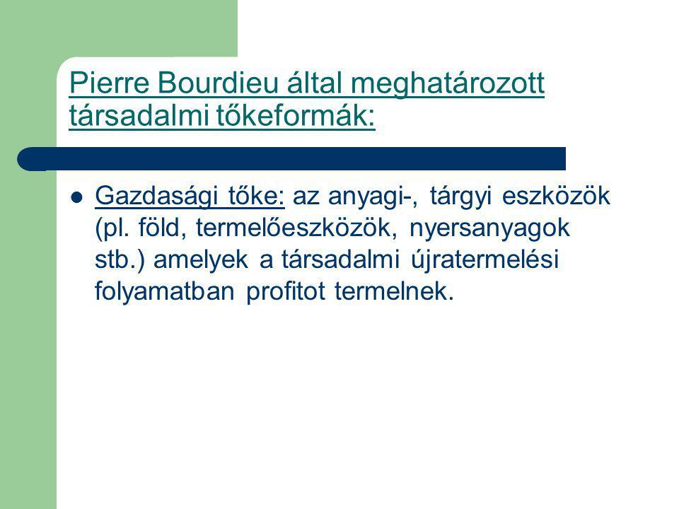 Pierre Bourdieu által meghatározott társadalmi tőkeformák: Gazdasági tőke: az anyagi-, tárgyi eszközök (pl.