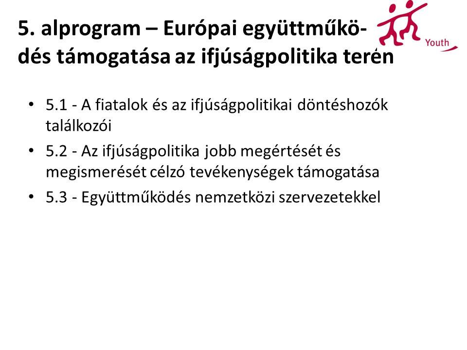 5. alprogram – Európai együttműkö- dés támogatása az ifjúságpolitika terén 5.1 - A fiatalok és az ifjúságpolitikai döntéshozók találkozói 5.2 - Az ifj