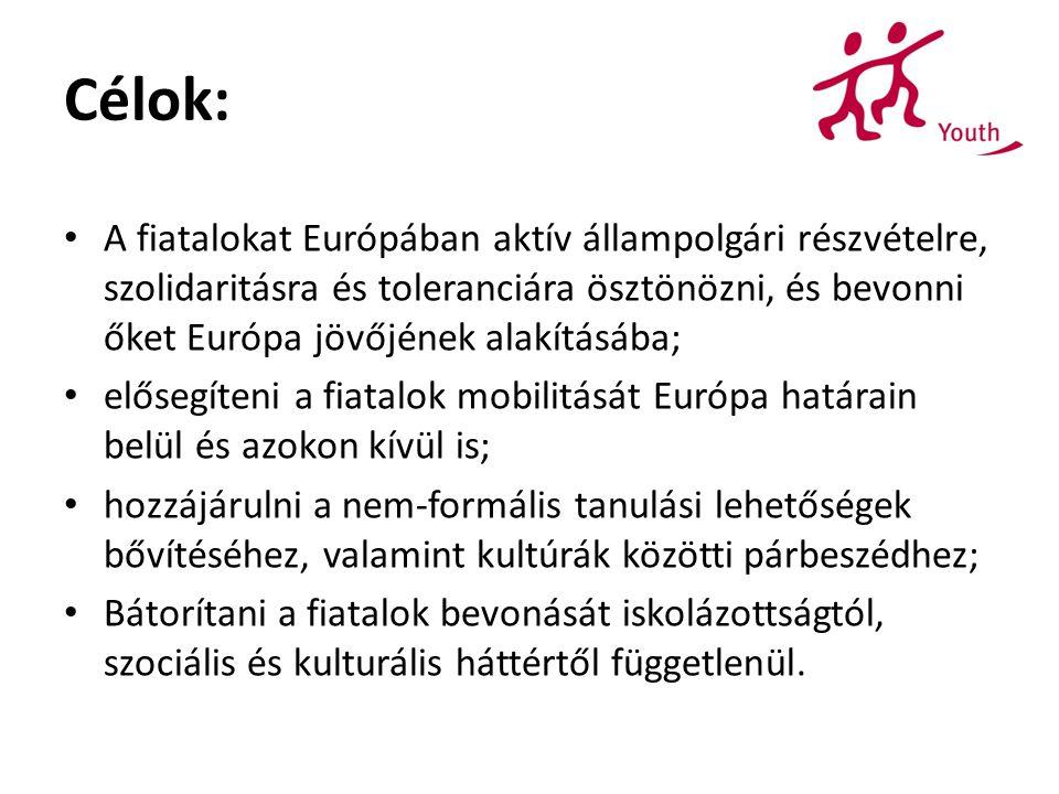 Célok: A fiatalokat Európában aktív állampolgári részvételre, szolidaritásra és toleranciára ösztönözni, és bevonni őket Európa jövőjének alakításába;