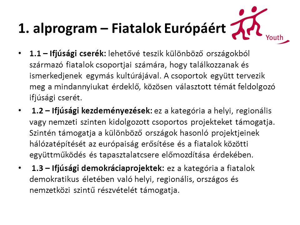 1. alprogram – Fiatalok Európáért 1.1 – Ifjúsági cserék: lehetővé teszik különböző országokból származó fiatalok csoportjai számára, hogy találkozzana