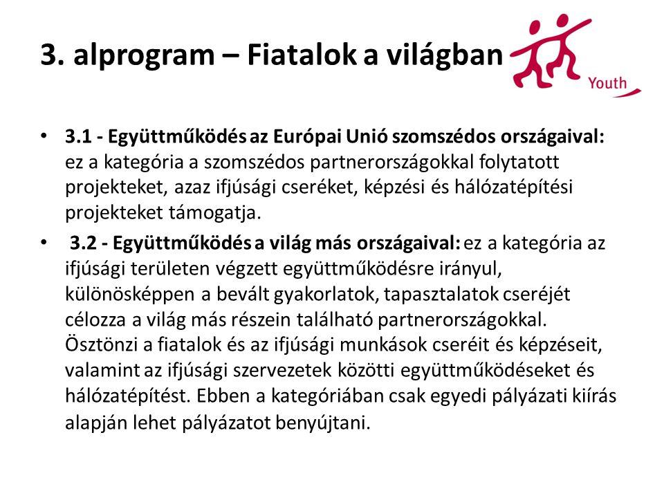 3. alprogram – Fiatalok a világban 3.1 - Együttműködés az Európai Unió szomszédos országaival: ez a kategória a szomszédos partnerországokkal folytato