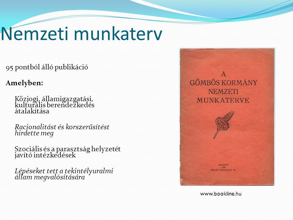Nemzeti munkaterv 95 pontból álló publikáció Amelyben: Közjogi, államigazgatási, kulturális berendezkedés átalakítása Racionalitást és korszerűsítést