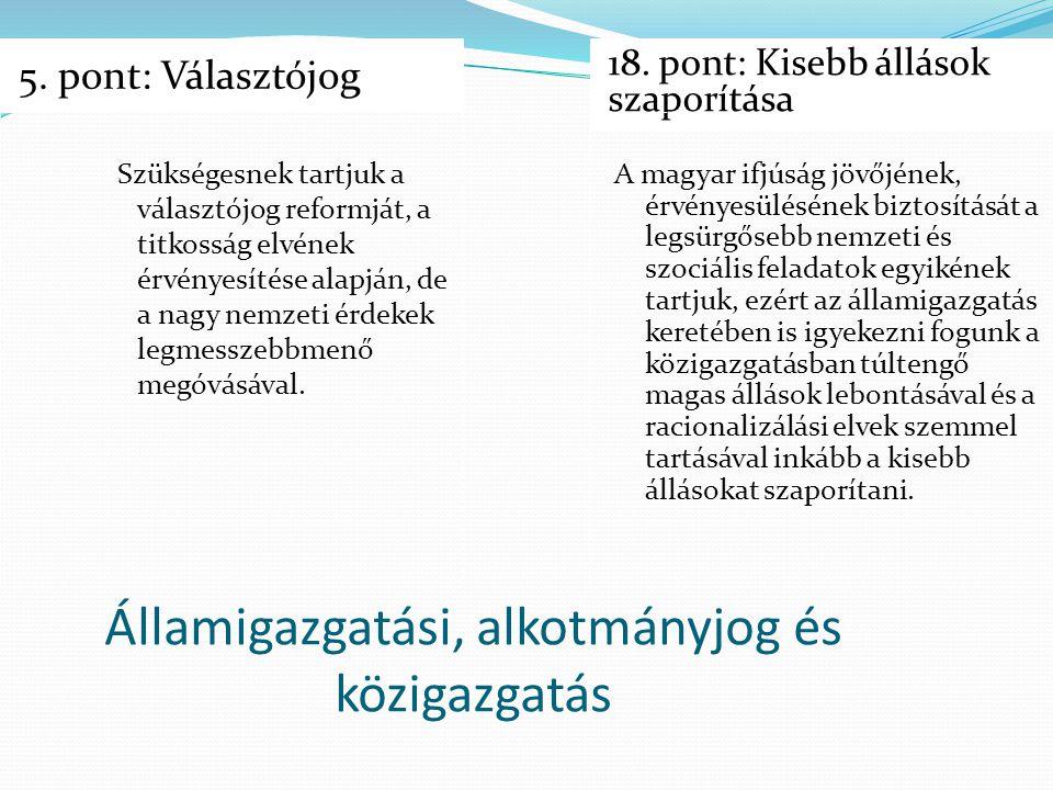Államigazgatási, alkotmányjog és közigazgatás 5. pont: Választójog 18. pont: Kisebb állások szaporítása Szükségesnek tartjuk a választójog reformját,