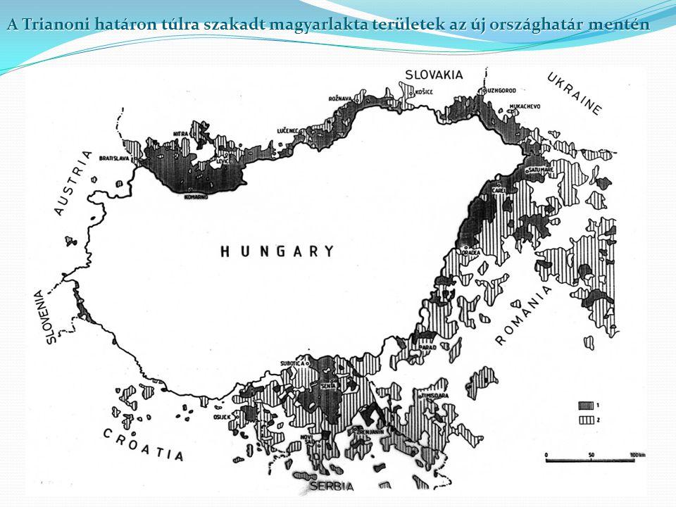 A Trianoni határon túlra szakadt magyarlakta területek az új országhatár mentén