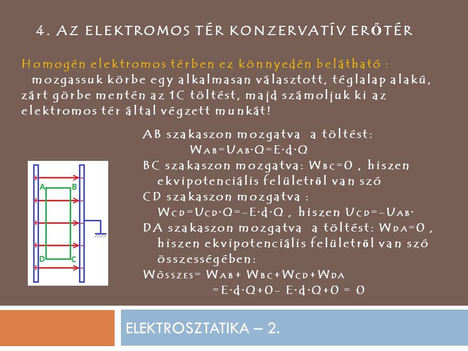 ELEKTROSZTATIKA – 2. 4. AZ ELEKTROMOS TÉR KONZERVATÍV ER Ő TÉR Homogén elektromos térben ez könnyedén belátható : mozgassuk körbe egy alkalmasan válas