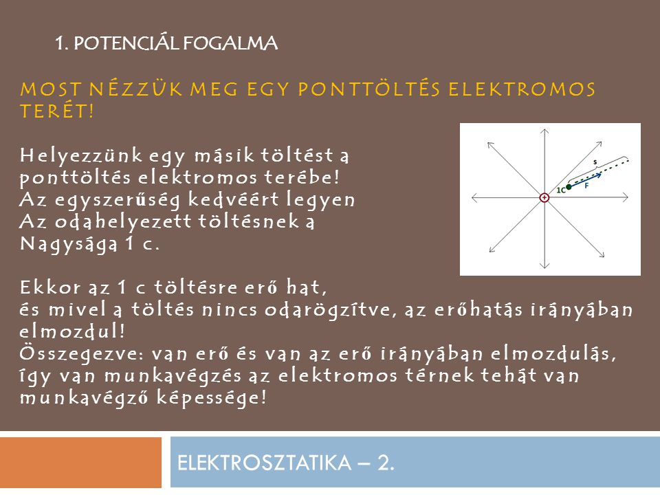 ELEKTROSZTATIKA – 2. 1. POTENCIÁL FOGALMA MOST NÉZZÜK MEG EGY PONTTÖLTÉS ELEKTROMOS TERÉT! Helyezzünk egy másik töltést a ponttöltés elektromos terébe