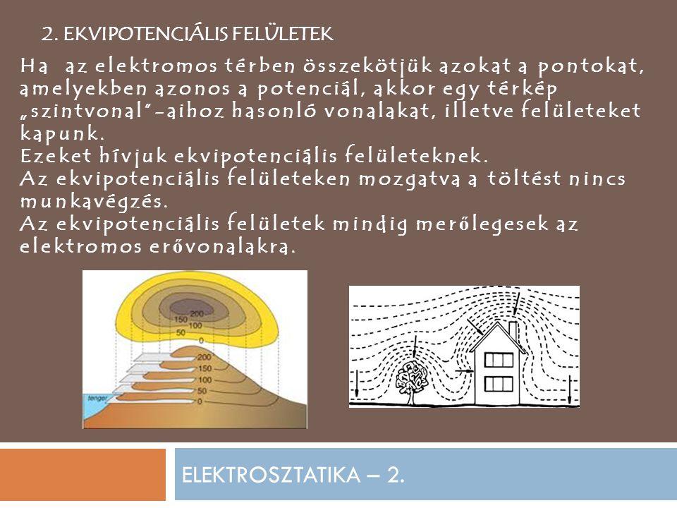 ELEKTROSZTATIKA – 2. 2. EKVIPOTENCIÁLIS FELÜLETEK Ha az elektromos térben összekötjük azokat a pontokat, amelyekben azonos a potenciál, akkor egy térk