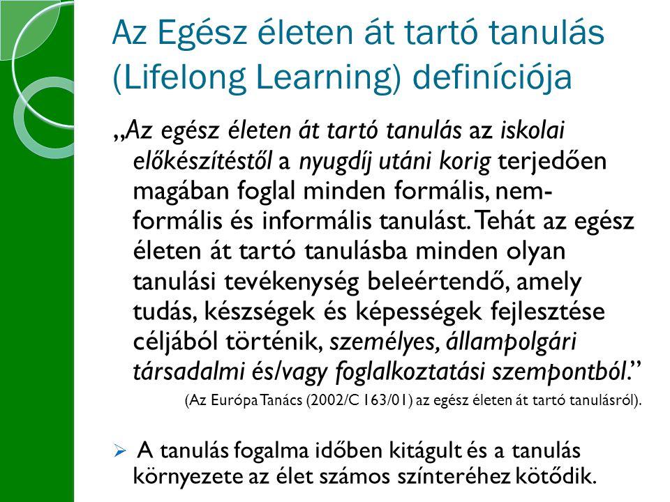 """Az Egész életen át tartó tanulás (Lifelong Learning) definíciója """" Az egész életen át tartó tanulás az iskolai előkészítéstől a nyugdíj utáni korig terjedően magában foglal minden formális, nem- formális és informális tanulást."""