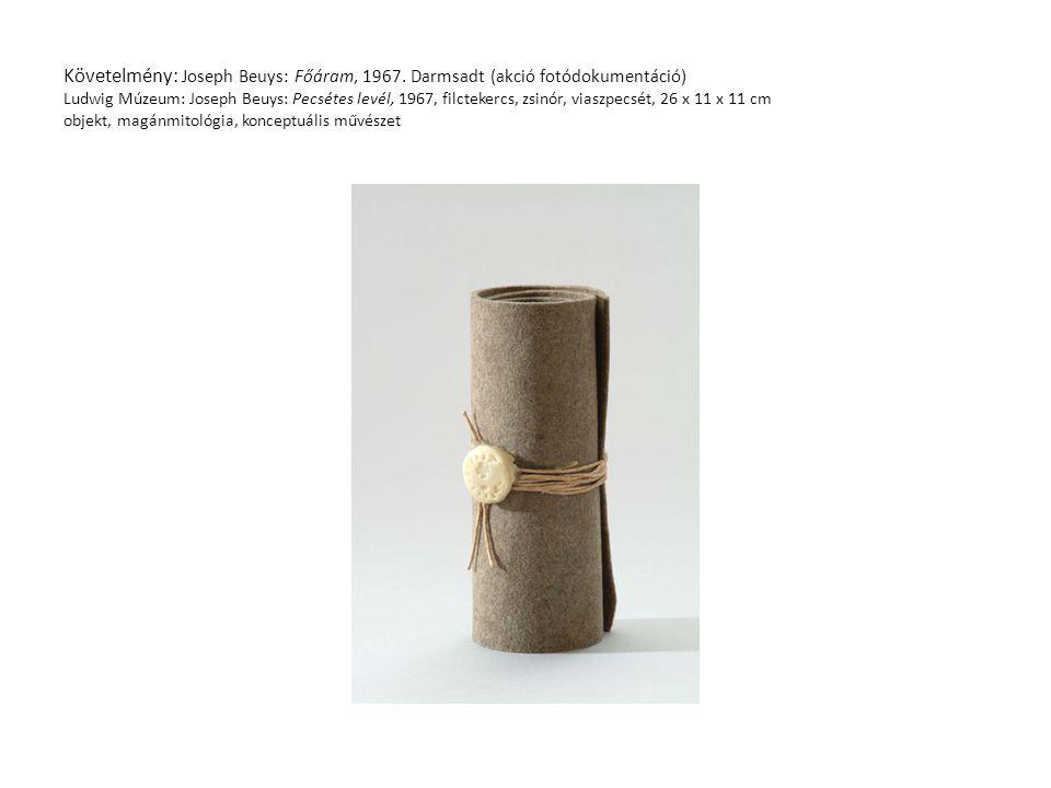 Követelmény: Joseph Beuys: Főáram, 1967. Darmsadt (akció fotódokumentáció) Ludwig Múzeum: Joseph Beuys: Pecsétes levél, 1967, filctekercs, zsinór, via
