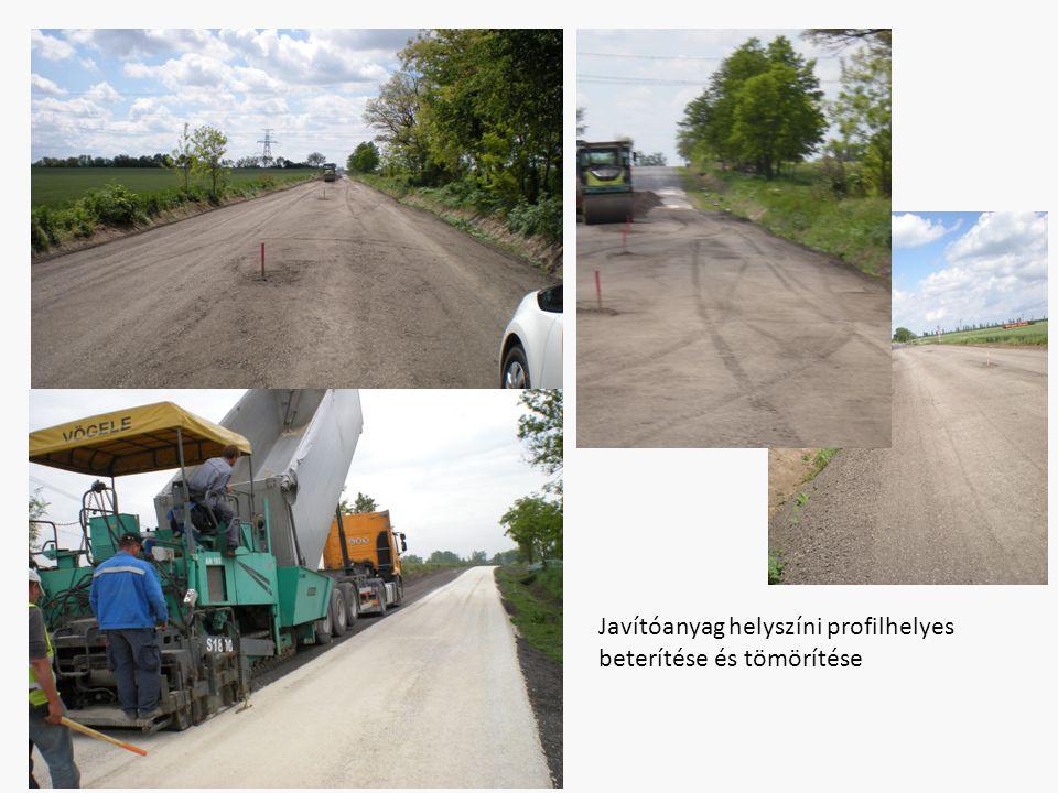 Javítóanyag helyszíni profilhelyes beterítése és tömörítése